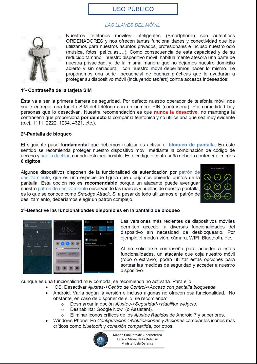 Seguridad smartphones CGPSST